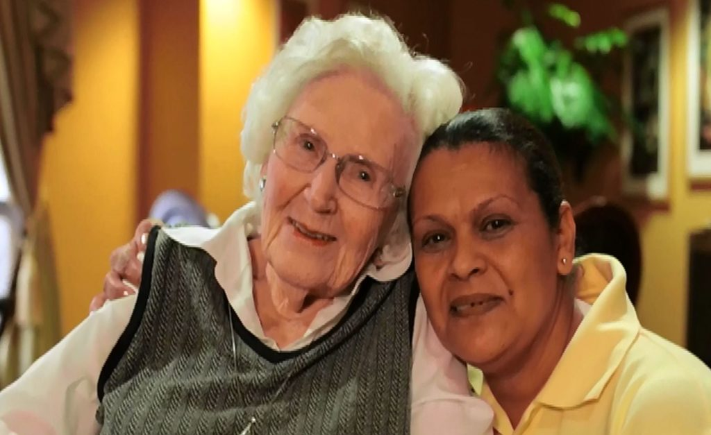 Brandywine Living Care Manager and Resident Hug