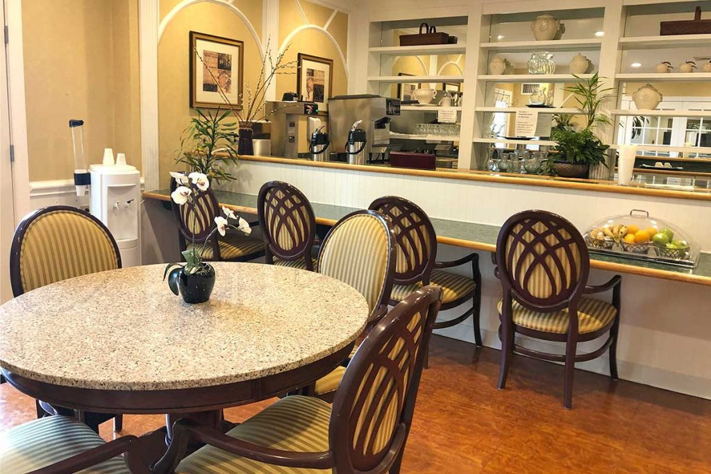 Senior Living Beautiful Bistro and Activities Area