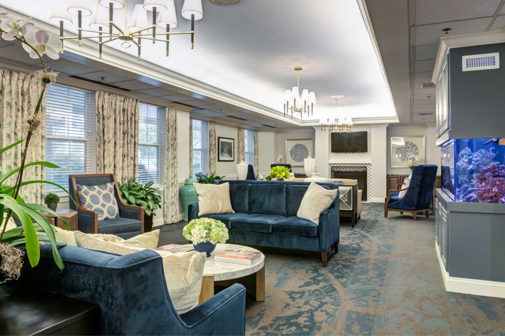 Senior Living Living Room with Fireplace