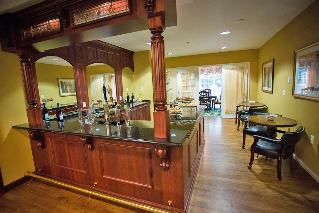 Brandywine Living at The Gables pub with beer taps and bar stools