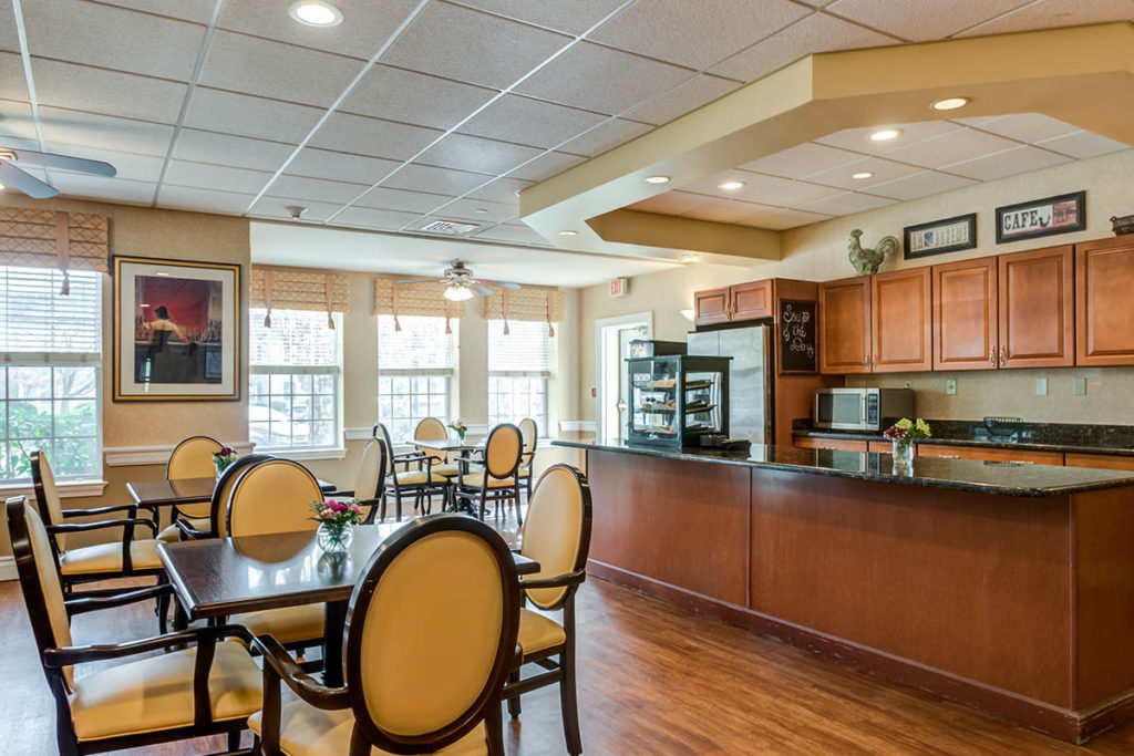 Bistro for guests to grab food at the counter, and plenty of tables to sit at