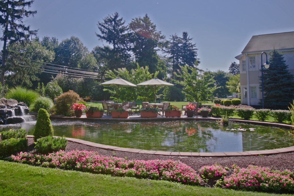 A pond with umbrellas and covered seating surrounded by beautiful landscaping