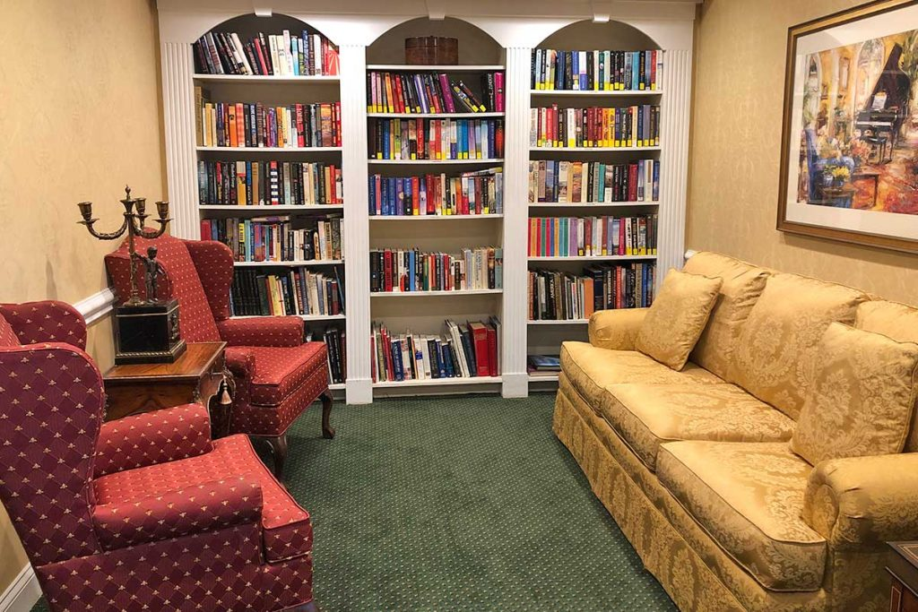 Senior Living Living Room Room with Small Library