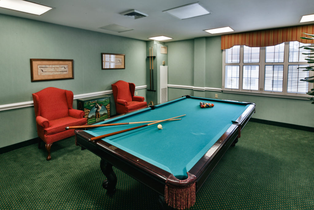Brandywine Living at Pennington game room with pool table
