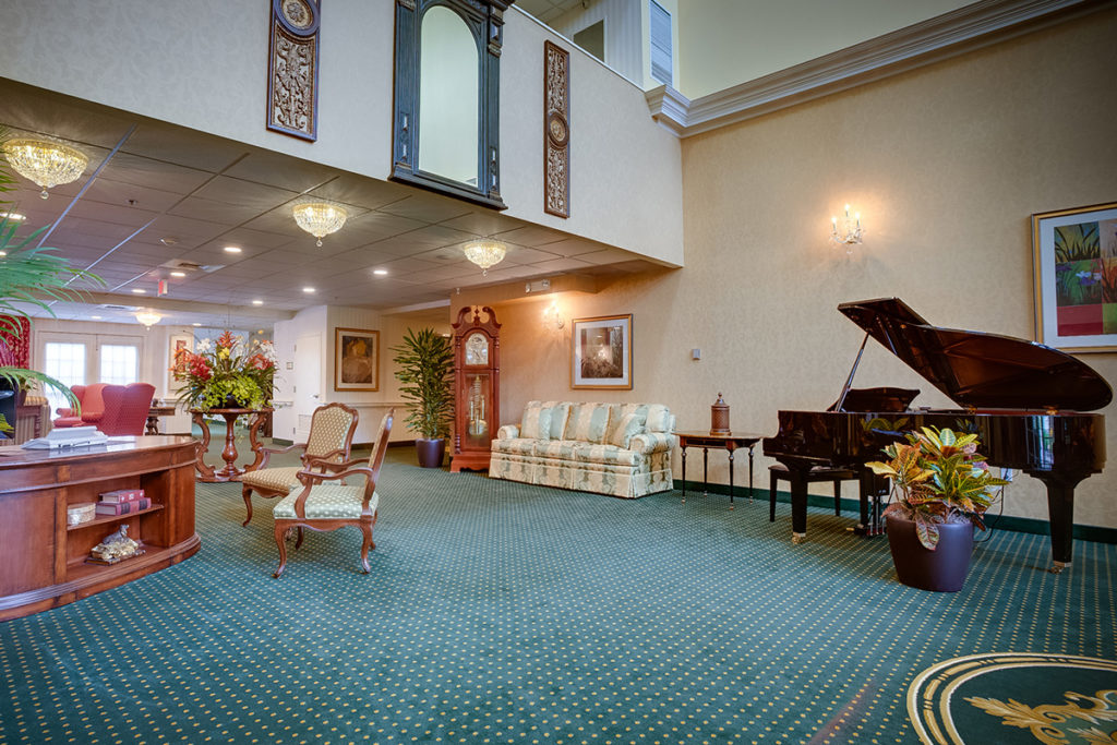 Brandywine Living at Princeton foyer with piano