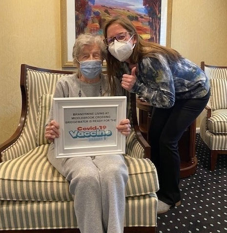 Dee Wagner, 90 years old at Brandywine Living Vaccine Clinic